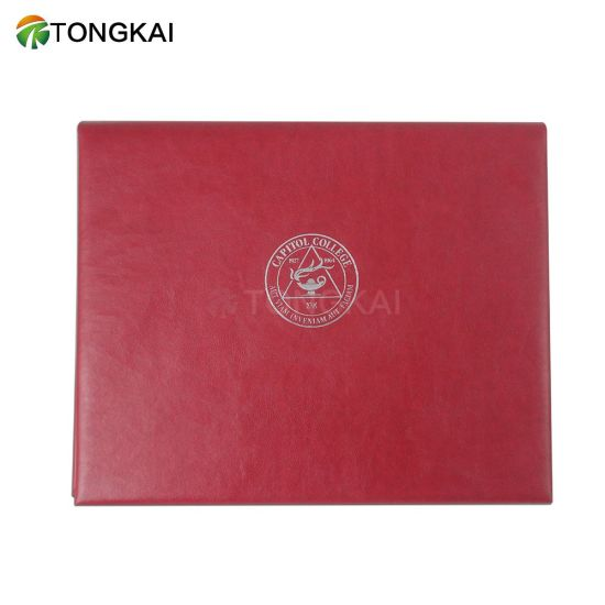 Chinese Red PU Leather Simple University Graduation Certificate Holders So Popular