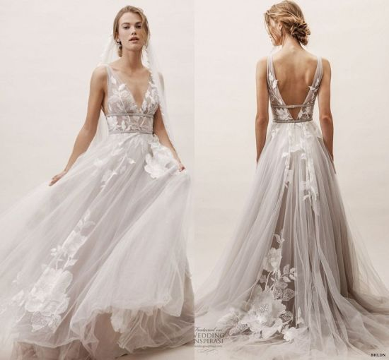 Floral Wedding Dress Sleeveless Lace Tulle A-Line Beach Boho Bridal Gown L1929 pictures & photos