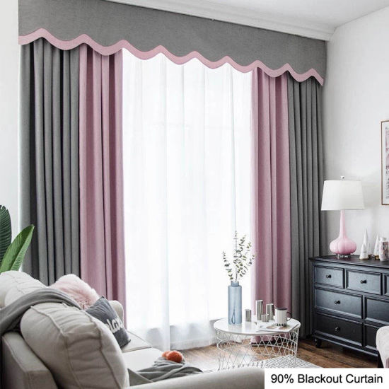 Guangzhou Custom Pure Style Durable Blackout Window Fabric Curtain Hotel Supply