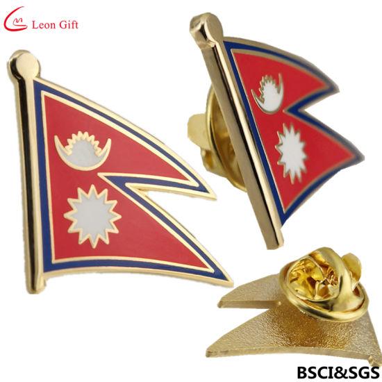 Factory Custom Nepal Flag Metal Enamel Lapel Pin Badge