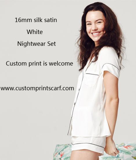 7bc8fd2c82 China White Silk Satin Nightwear for Girl - China Pajamas