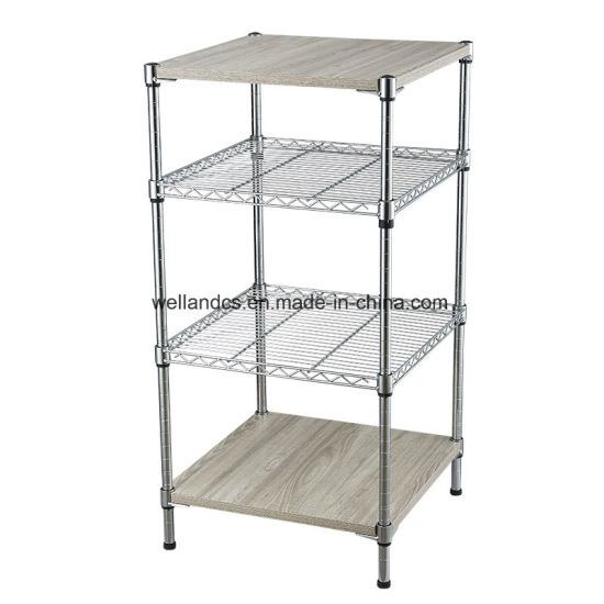 2019 New Design 4 Tier DIY Iron Corner Shelf Unit Wire Storage Rack with MDF Board