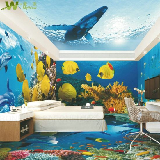 Waterproof Bathroom Wallpaper 3d Floor With Back Sticker
