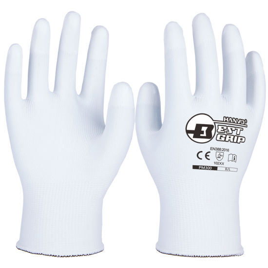 13G White Nylon PU Finger Coating General Work Safety Gloves