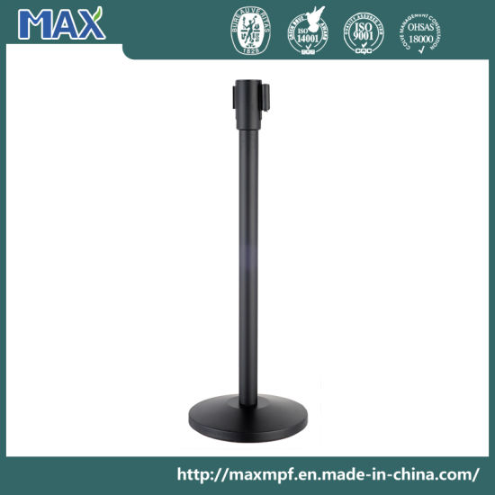 Black Baking Barrier Queueway Steel Post -2m Belt