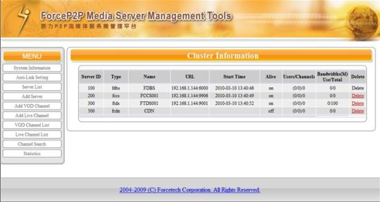 China Force Cloud Streaming Media Server, IPTV Server Software