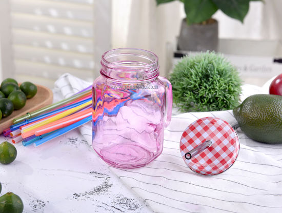 16ozfood Grade Hot Sell Glass Mason Drinking Jar with Cap and Straw