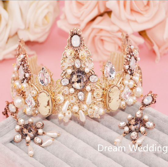 Luxury Pearl Crystal Alloy Wedding Prom Tiaras Crown Plus Free Earbobs pictures & photos