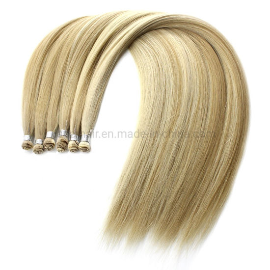 100% Human Top Quality Wholesale Full Cuticle Remy European Hair Handtied Weft