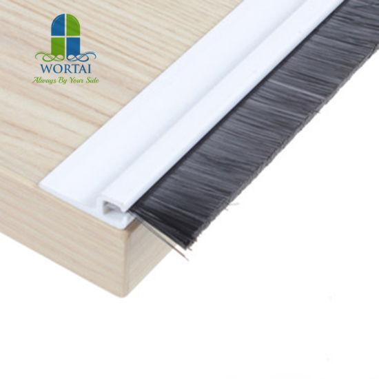 Self Adhesive Wooden Door Bottom Sealing Strip Pvc Pp Brush Strip Draught Excluder Sweep Draft Weatherstrip