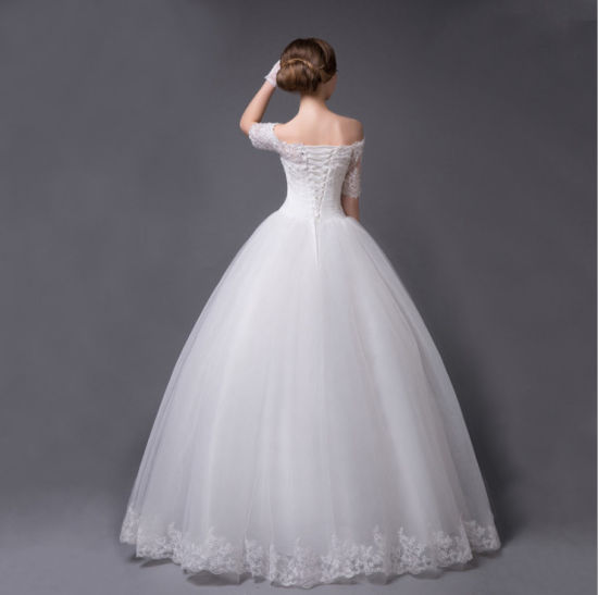 2016 off Shoulder Half Sleeves Ball Gown Wedding Dress with Sequin Applique pictures & photos