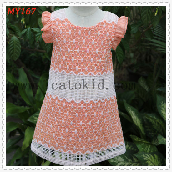 100% Cotton Peach Comfortable with Lace Dress Children Clothing for Summer
