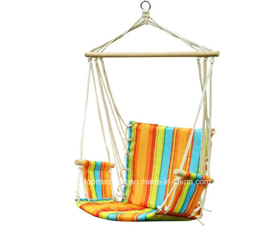 Padded Cotton Rope Hanging Hammock Swing Chair With Arm Rest