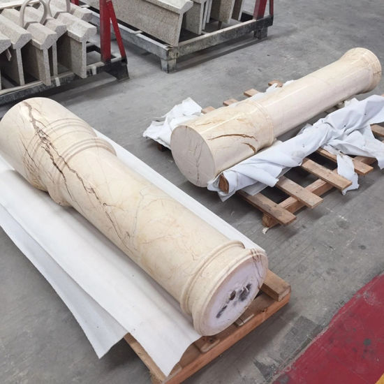 Stone Carving Beige Marble Roman Column