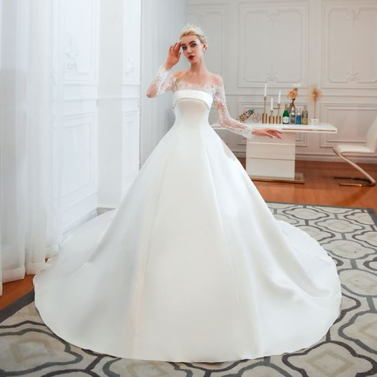 Sexy&Elegant off Shoulder Long Sleeve Cathedral Train A-Line Stain Wedding Dress Bridal Gown Bridal Dress