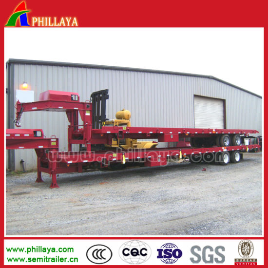 Tri Axle Mechanical Suspension Cimc Towing Low Bed Semi Trailer for Excavator Transporting pictures & photos
