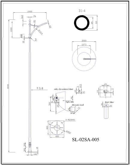 China 70w 100w 150w Galvanzied Light Pole Led Garden Light Pole