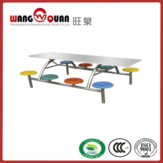 Foldable Canteen Table Set for 8 Persons Restaurant Furniture