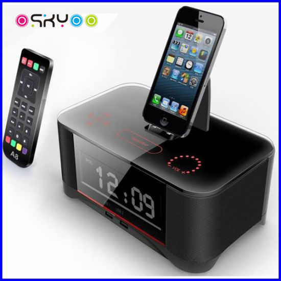 Touch Radio Alarm Clock Bluetooth Speaker Box with Docking for Smartphone pictures & photos