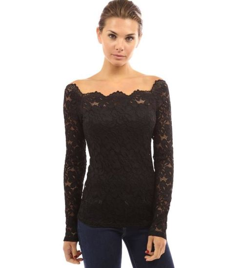 3a6c911c0bf54 China Ladies White See Through off Shoulder Lace Tops Latest Design ...
