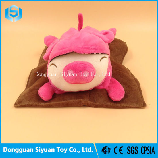 Ctue Stuffed Plush Pink Pig Doll Toy with Cushion