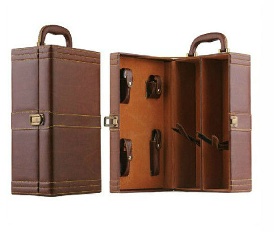 Hot Sale Two Bottles Leather Wine Box for Gift Packing pictures & photos
