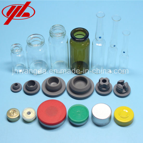 Pharmaceutical Glass Vial with Rubber Stopper and Caps