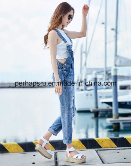Fashion High Quality Blue Ripped Jeans Denim Overalls pictures & photos