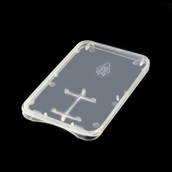 36*52*4mm 2 in 1 Plastic Ultra-Thin Transparent Standard SD / TF SDHC Memory Card Case Holder Box Storage