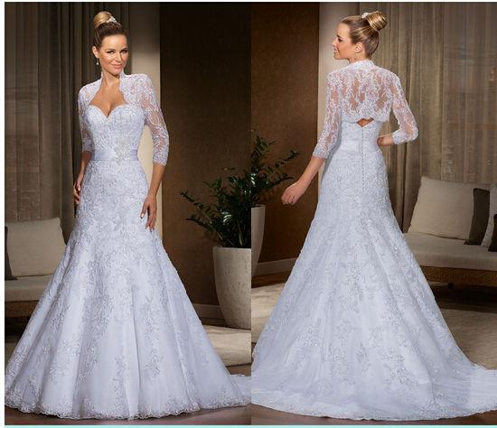 China 2016 Lace Jacket Long Sleeve Bridal Wedding Dress Wdal001 ...
