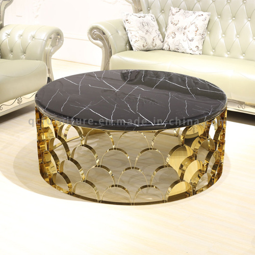 2018 Modern Latest Round Golden Stainless Steel Coffee Table