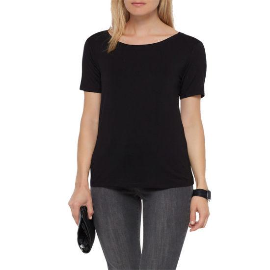 6b1776e88 High Quality Pure Cotton Women Plain Black Lady T-Shirt pictures & photos