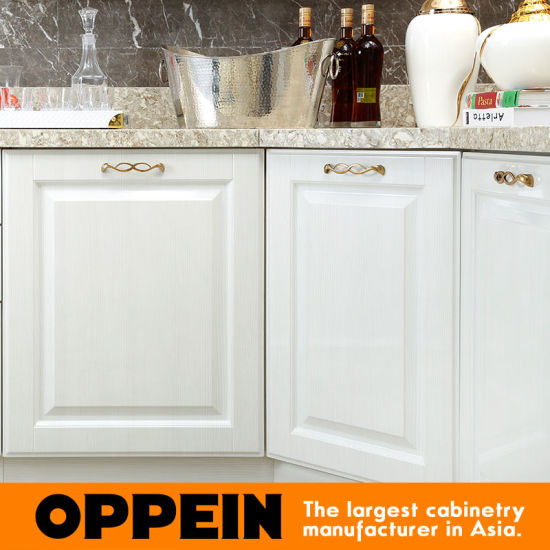 Oppein Modern E0 White PVC L-Shape Wholesale Wood Kitchen Cabinets (OP15-054) pictures & photos
