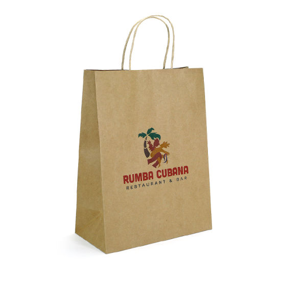 You Own Logo Print Brown Kraft Paper Retail Shopping Bags