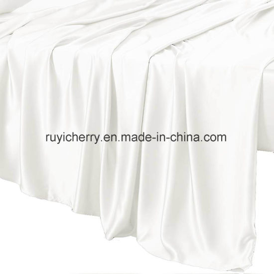 22 Momme Silk Sheet Set 4 Pcs Bed Sheets With Fine Embroidery Luxury Bedding Sets Ultra Soft Hypoallergenic Durable 100 Top Grade Mulberry