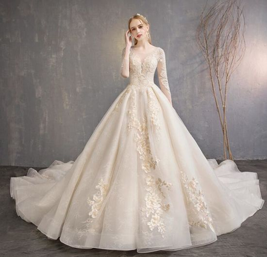 off-Shoulder Champagne Flower Shiny Prom Gown Lace Wedding Dress