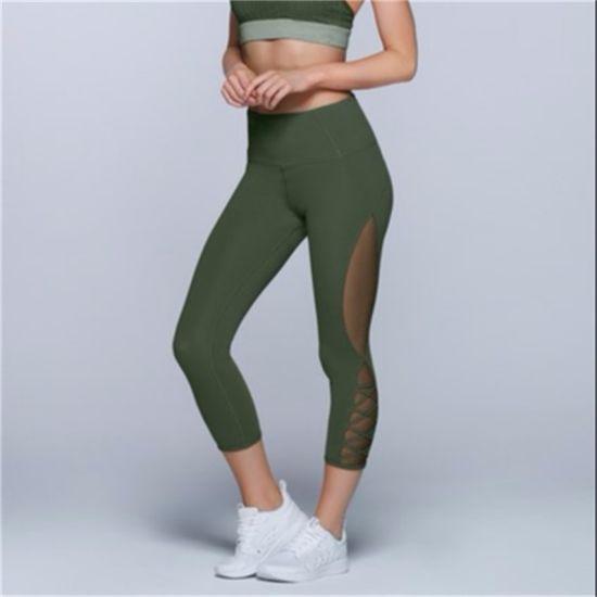 d1805c7376b69 OEM Women 3/4 Black Mesh Insert Leggings Athletic Tight Gym Sports  Compression Fitness Yoga Pants Capri