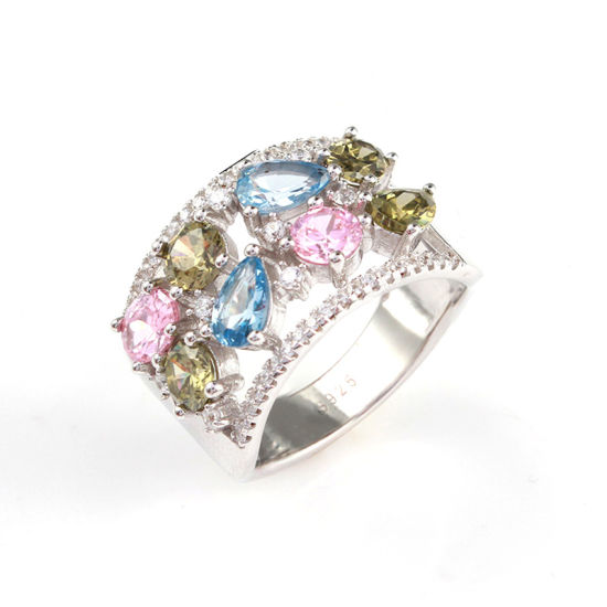 Fashion Jewelry 925 Sterling Silver Diamond Jewellery Inlaid Colorful Ring pictures & photos