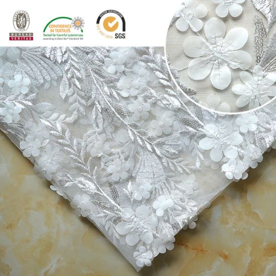 china exquisite lady dress lace embroidery 3d shine flower with