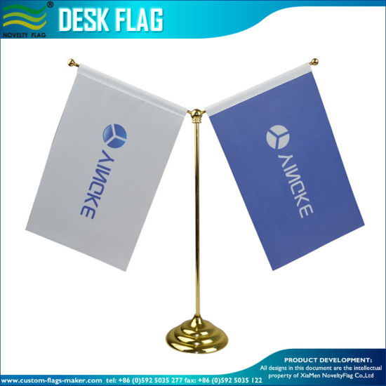 Table Flag, Double Desk Flag, Golden Stand (J-NF09M05004) pictures & photos