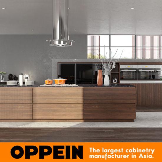 China Oppein Modern Natural Elegant Zen Like Wood Melamine Kitchen Cabinets Op17 Hpl02 China Kitchen Cabinets Wood Kitchen Cabinets