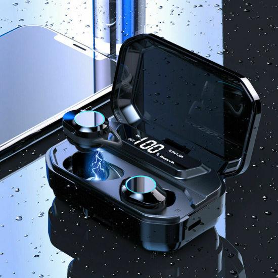 Tws 5.0 Bluetooth Earphone Wireless Stereo Headphones with 3000mAh LED Torch Light Power Bank