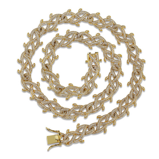 Mens Gold Hip Hop Gold Iced out Cuban Chain Necklace Jewelry, Factory Direct Wholesale