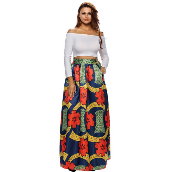 e82a90a163 Women Orange Fashion Deluxe African Print Maxi Skirt of Amazon Hot Sales