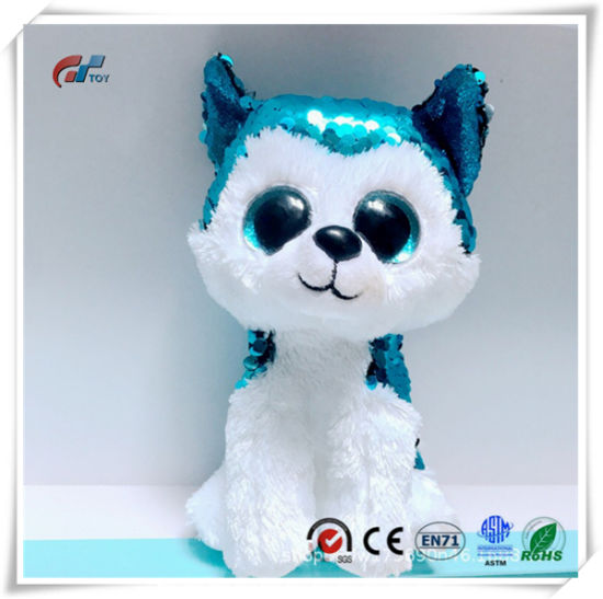 Husky Animal Plush Toy with Sequins for Kids