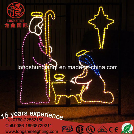 LED Rope 110V Nativity Manger Scene 2D Motif Christmas Light for Holiday Decoration pictures & photos