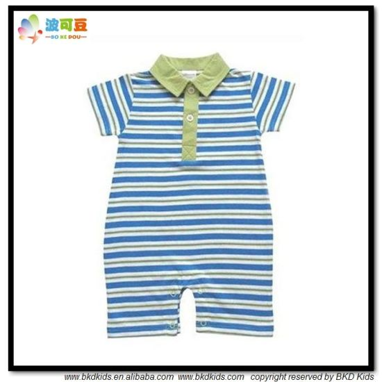 Polo Neck Baby Clothes Stripe Printing Newborn Rompers