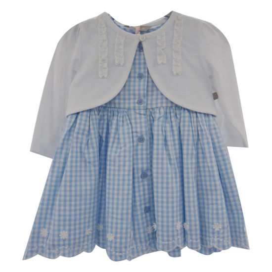 Infant Girl Poplin Y/D Check Dress and Knitted Cape 2-Piece Suit