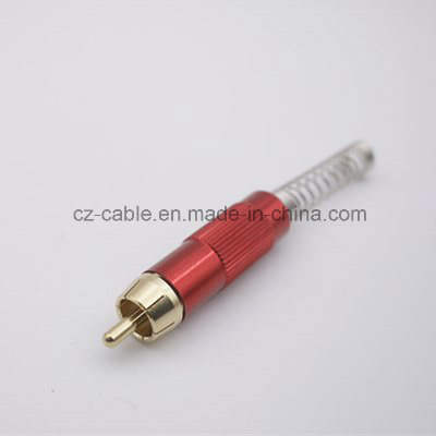 Colour RCA Plug with Long Spring pictures & photos
