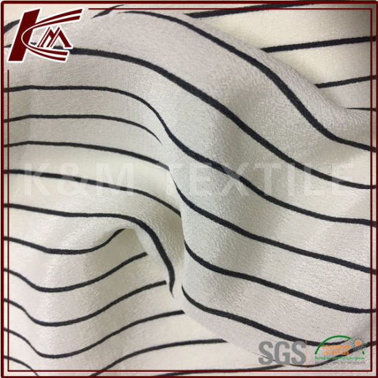 Printed Strip Pattern 100 Silk Crepe De Chine Silk Crepe Fabric